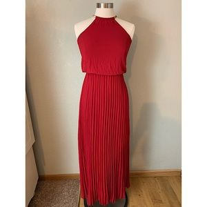 Lulus Burgundy Cocktail Halter Maxi Dress, Small